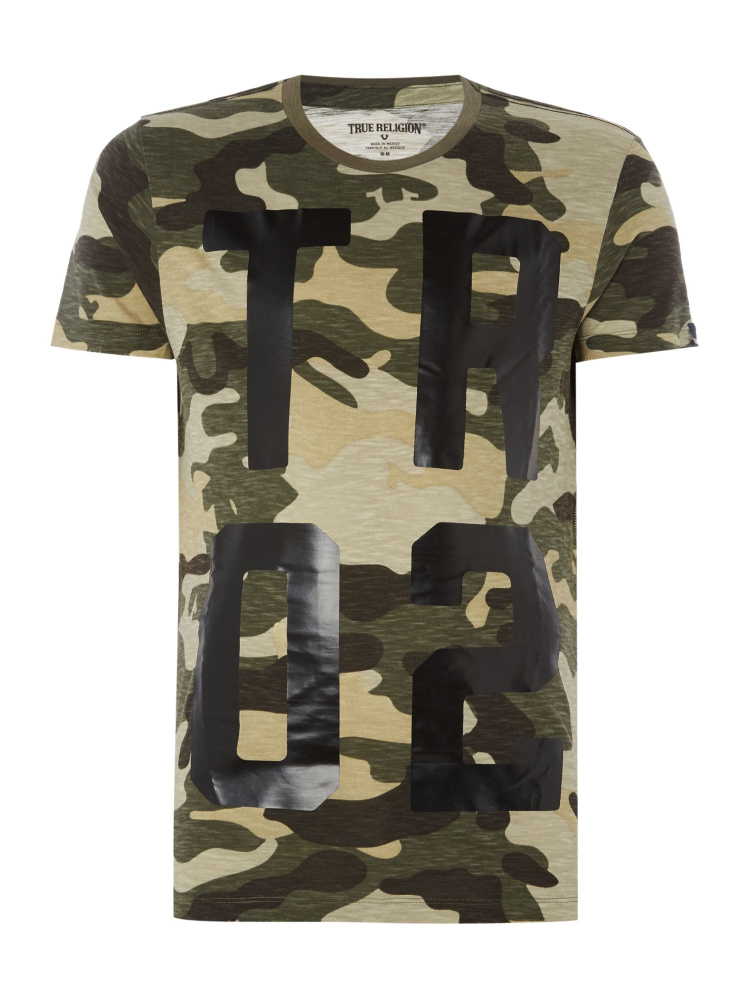 Lyst true religion regular fit all over camo print crew for Camouflage t shirt printing