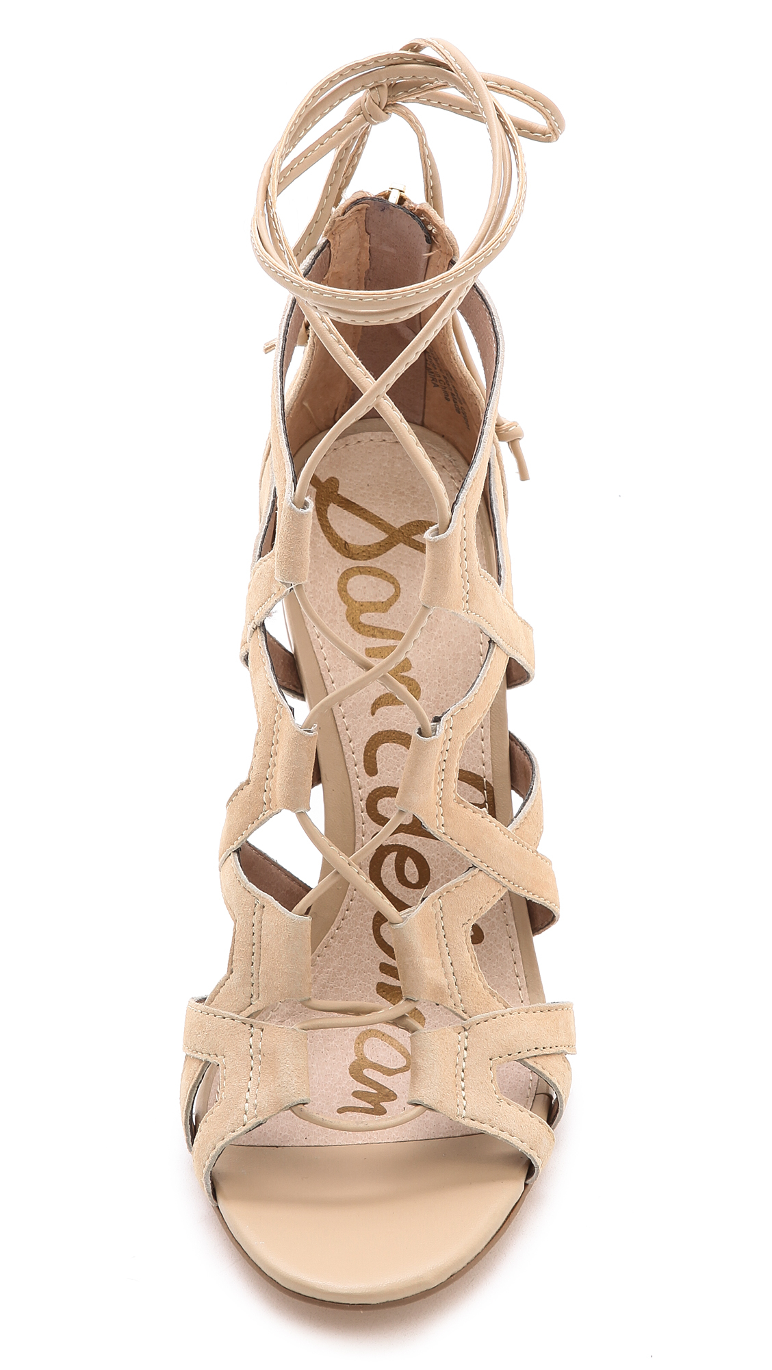 Lyst Sam Edelman Almira Lace Up Sandals Black In Natural
