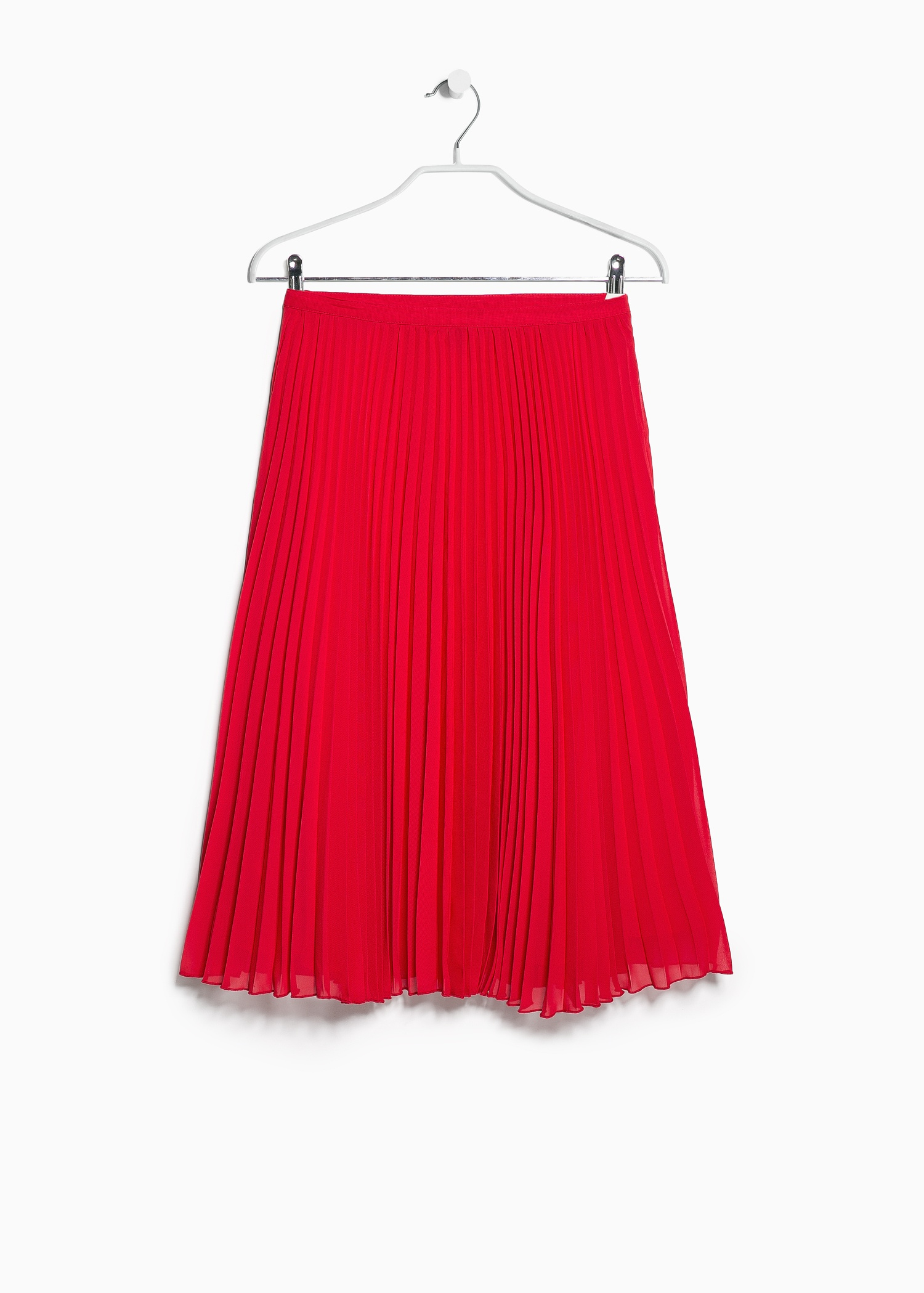 Mango Pleated Midi Skirt in Red | Lyst