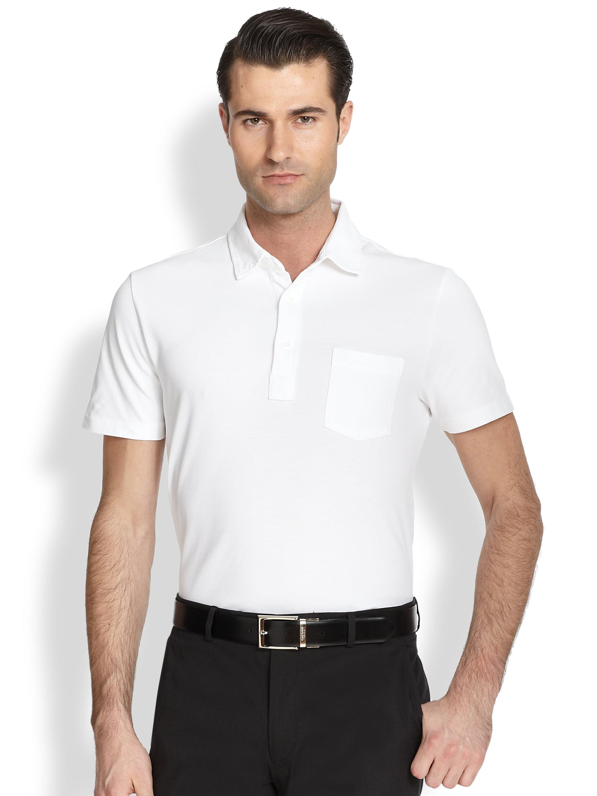 Ralph lauren black label cotton polo shirt in white for for Black cotton polo shirt