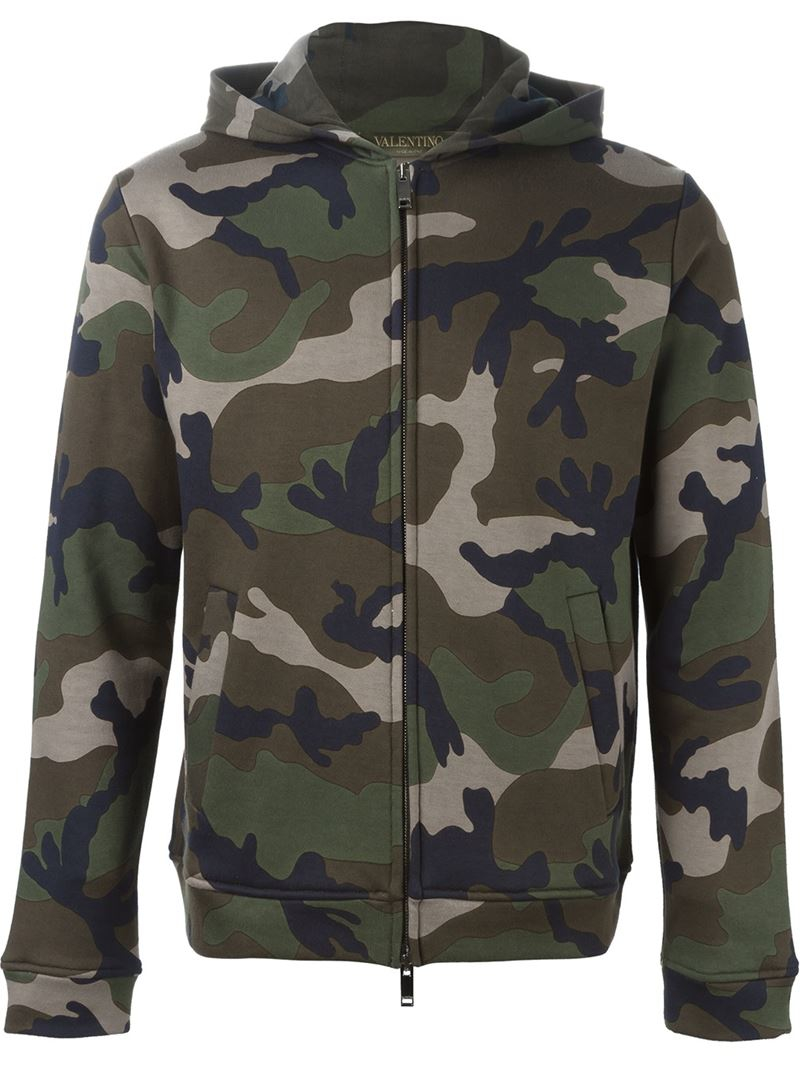 Valentino Camouflage Print Hoodie In Green For Men Lyst