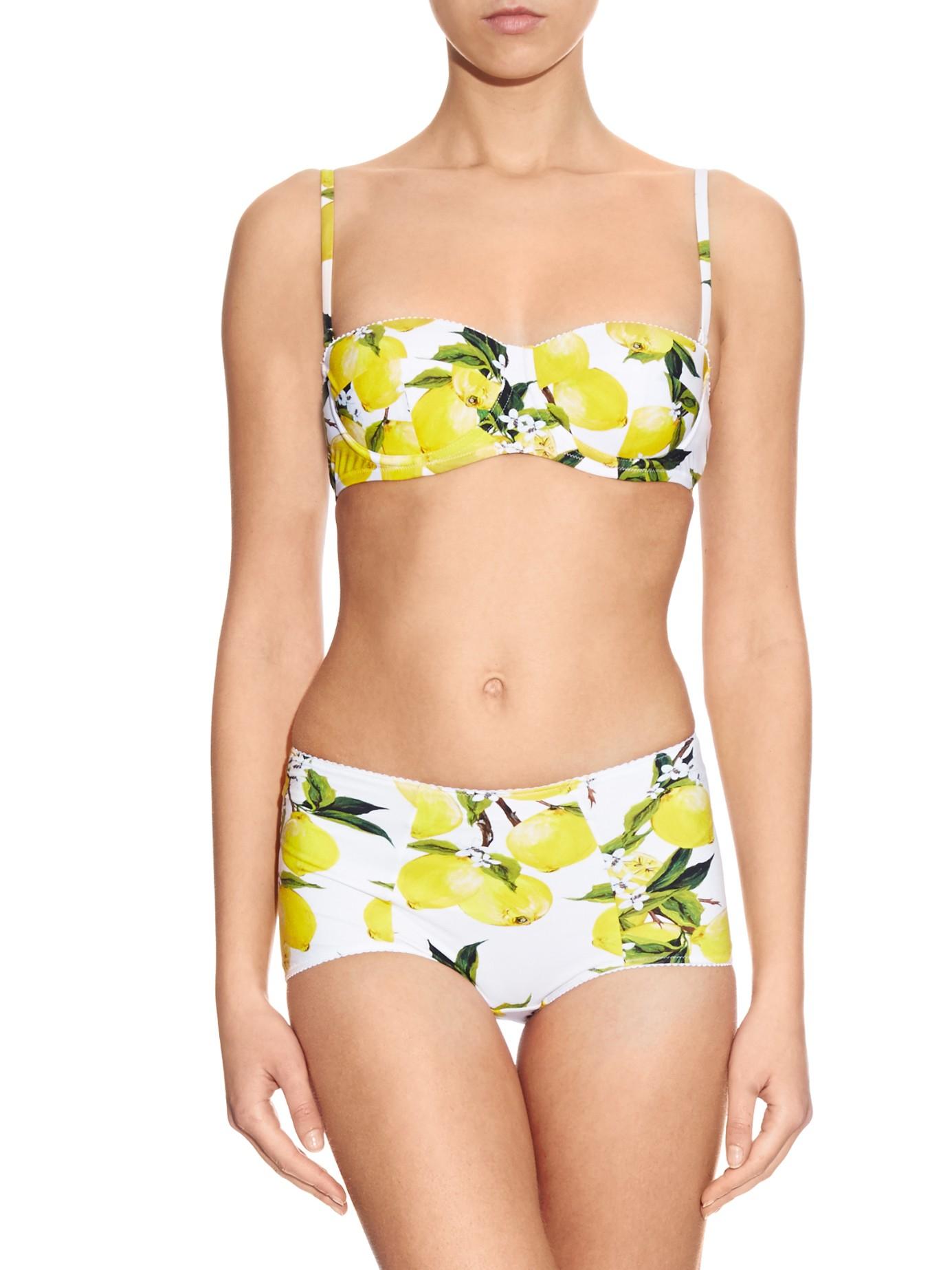 Lyst Dolce Amp Gabbana Lemon Print Balconette Bikini Top