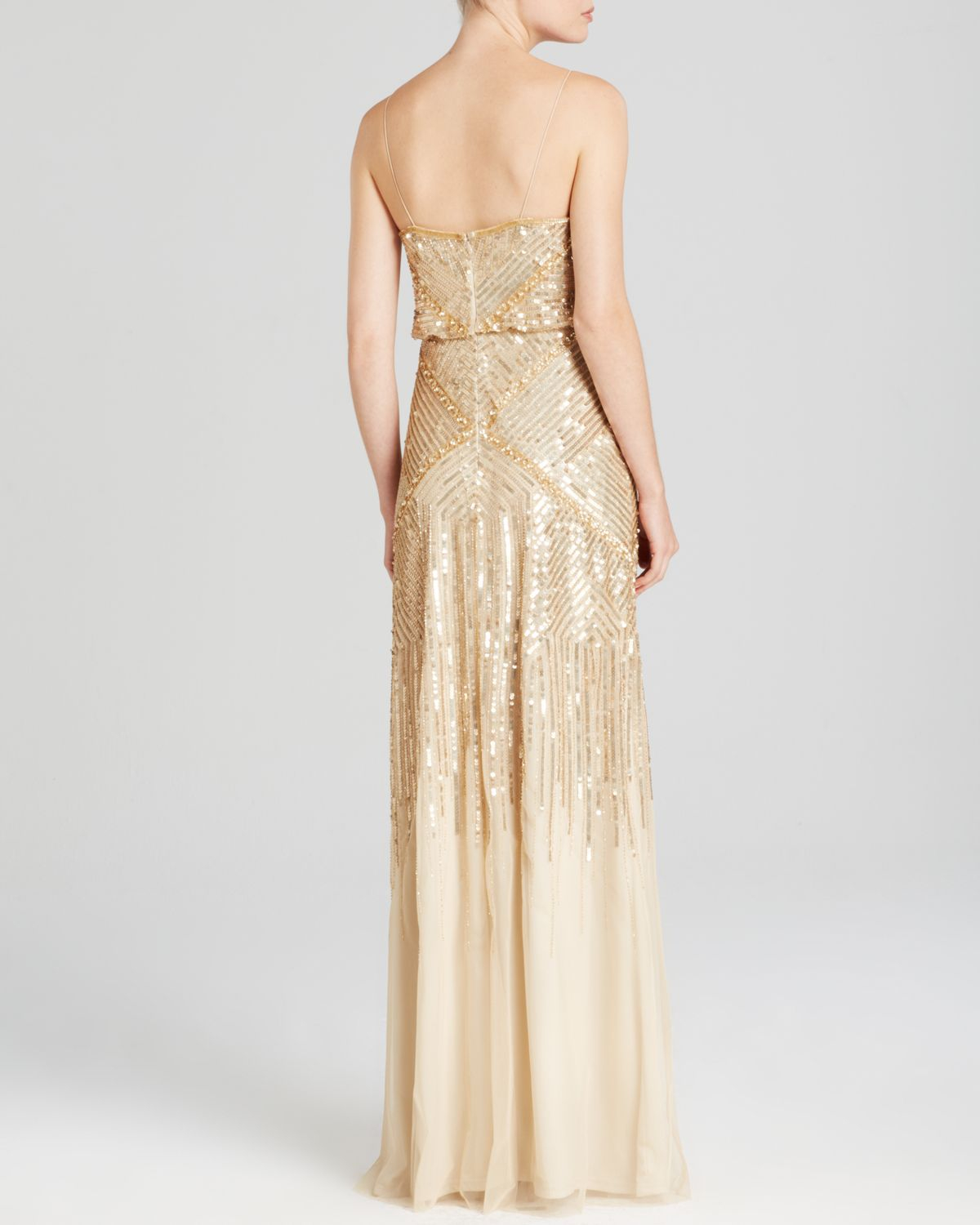 Lyst - Adrianna Papell Sleeveless Beaded Blouson Gown ...