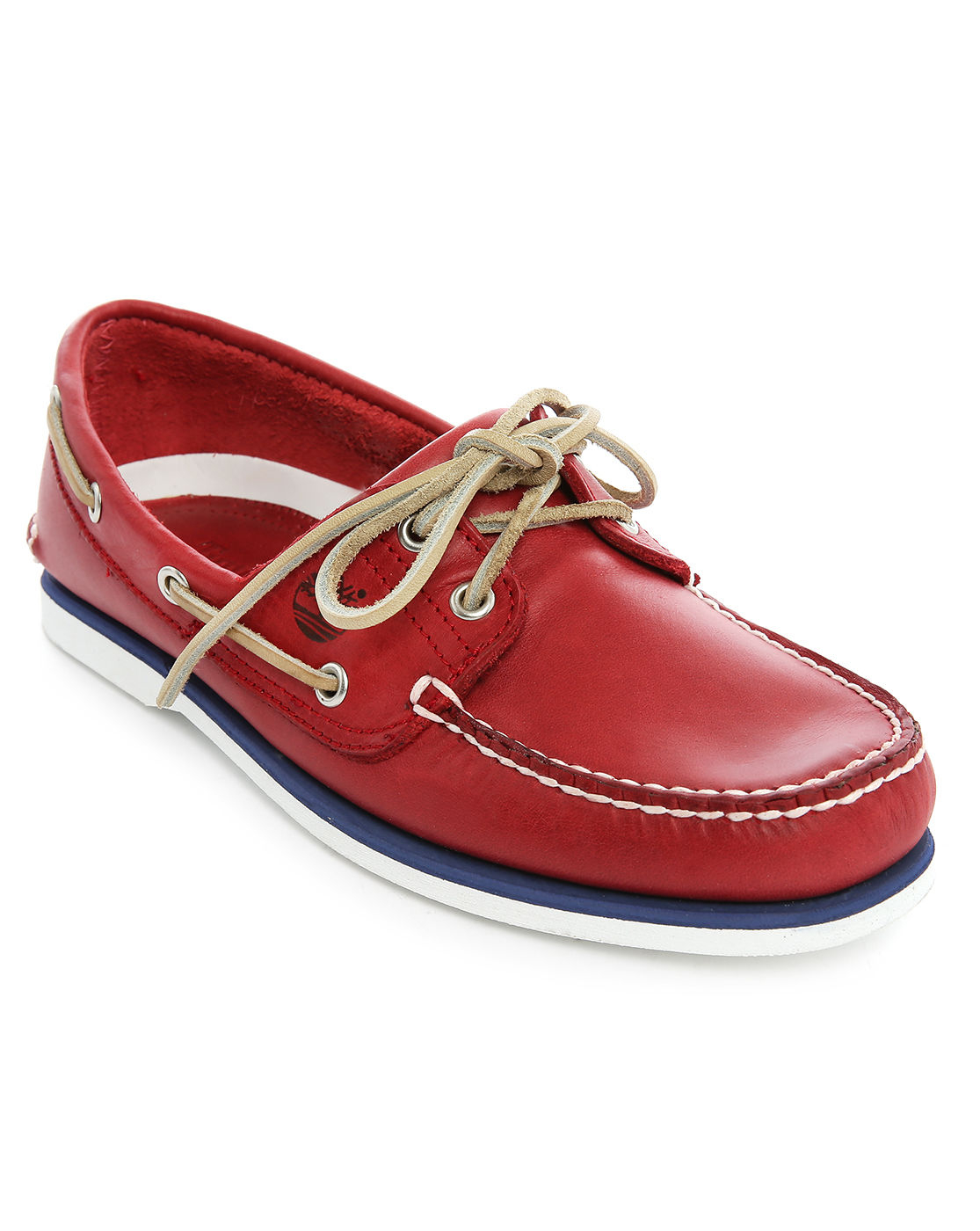Timberland Red Leather Contrast Sole Boat Shoes in Red for ...