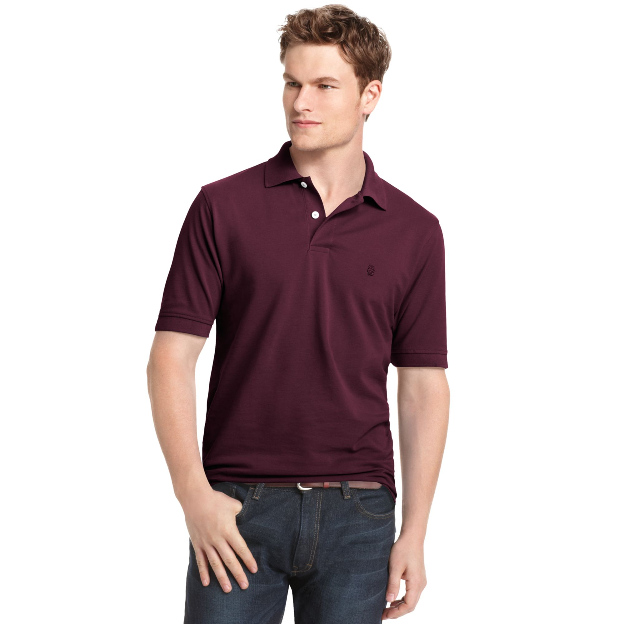 Izod big and tall shirt short sleeve pique polo in purple for Big and tall custom polo shirts