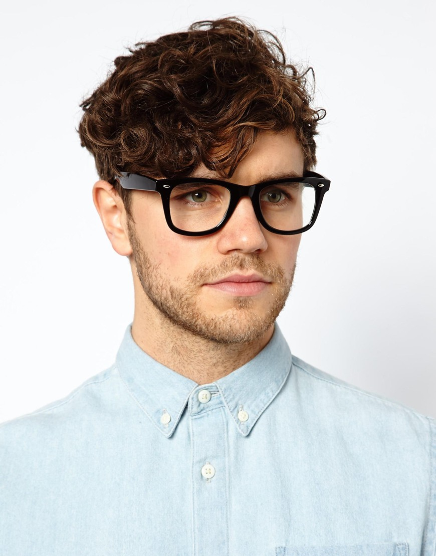 150c6aba275 Lyst - Asos Square Glasses With Clear Lens in Black for Men