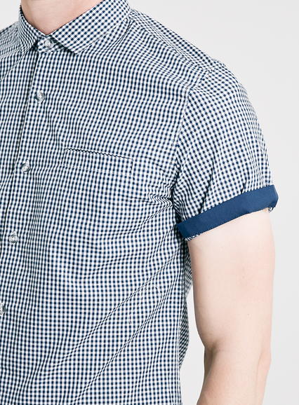 Topman navy gingham contrast button down short sleeve for Navy blue gingham shirt