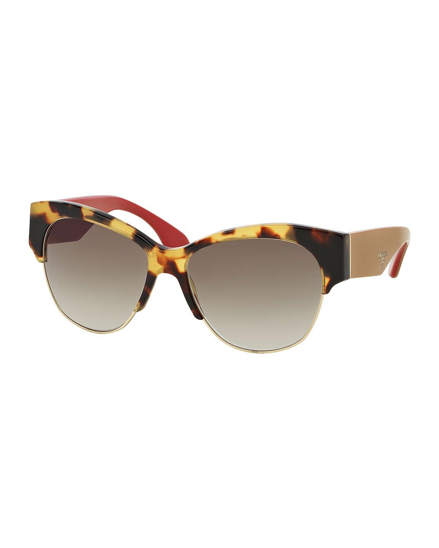 7d72e69751 Lyst - Prada Semi Rimless Cat-eye Sunglasses