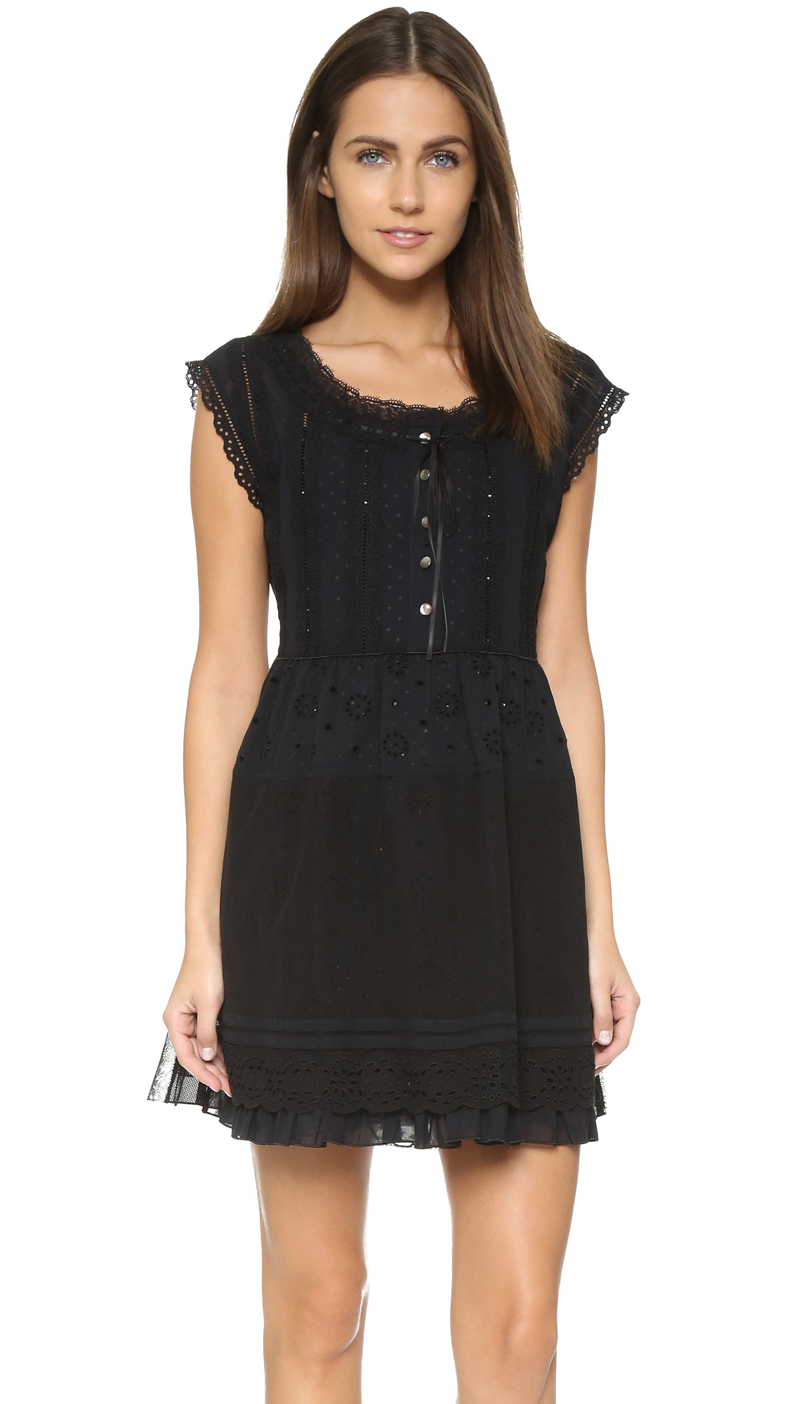 Lyst Marc By Marc Jacobs Broderie Anglaise Dress In Black
