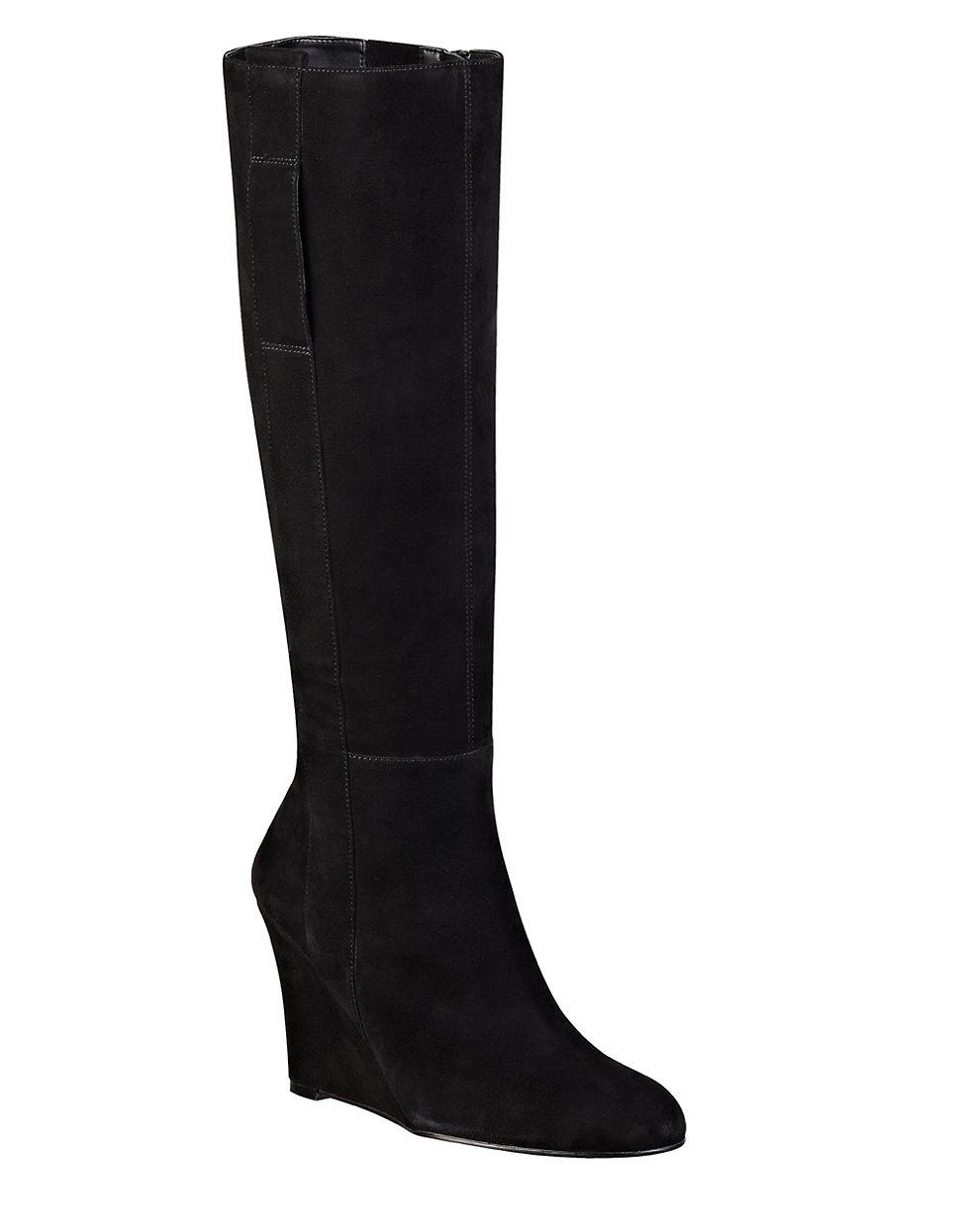 da96a5738320 Lyst - Nine West Oran Suede Wedge Boots in Black