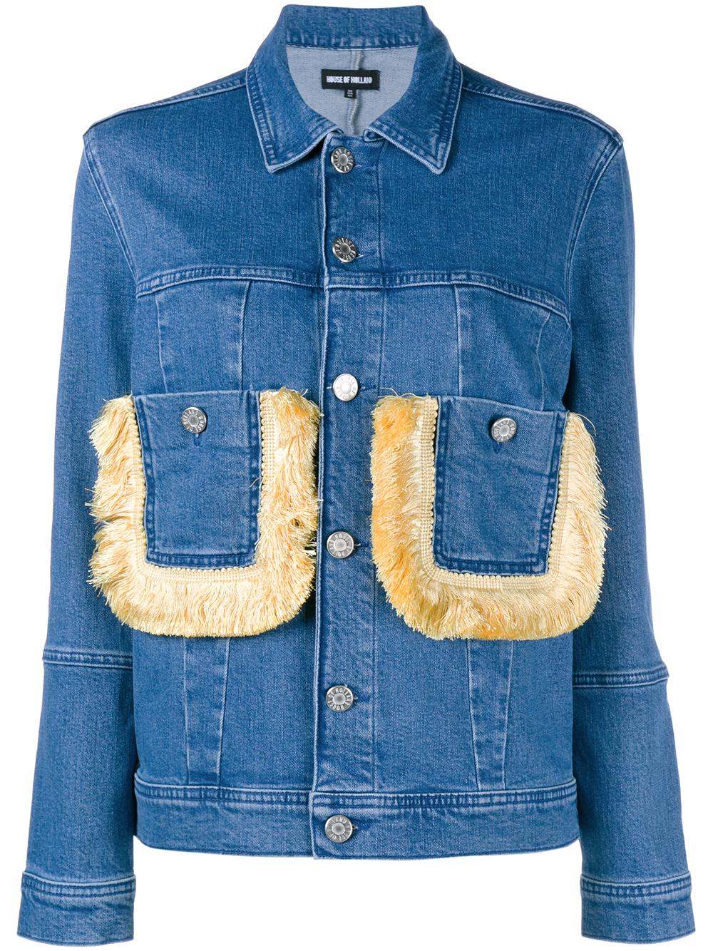 House Of Holland Fringed Pocket Denim Jacket In Blue Lyst
