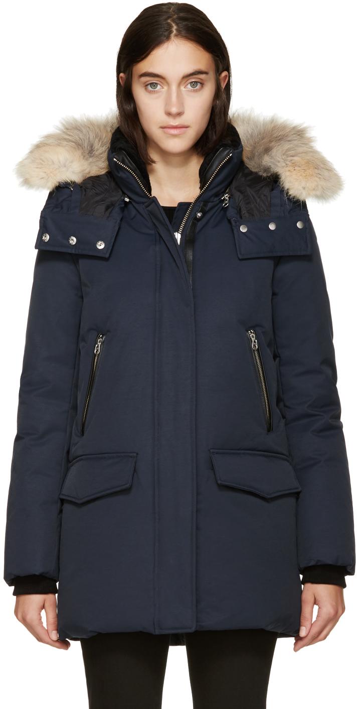 Mackage Navy Down And Fur Lux Juliann Coat in Blue | Lyst