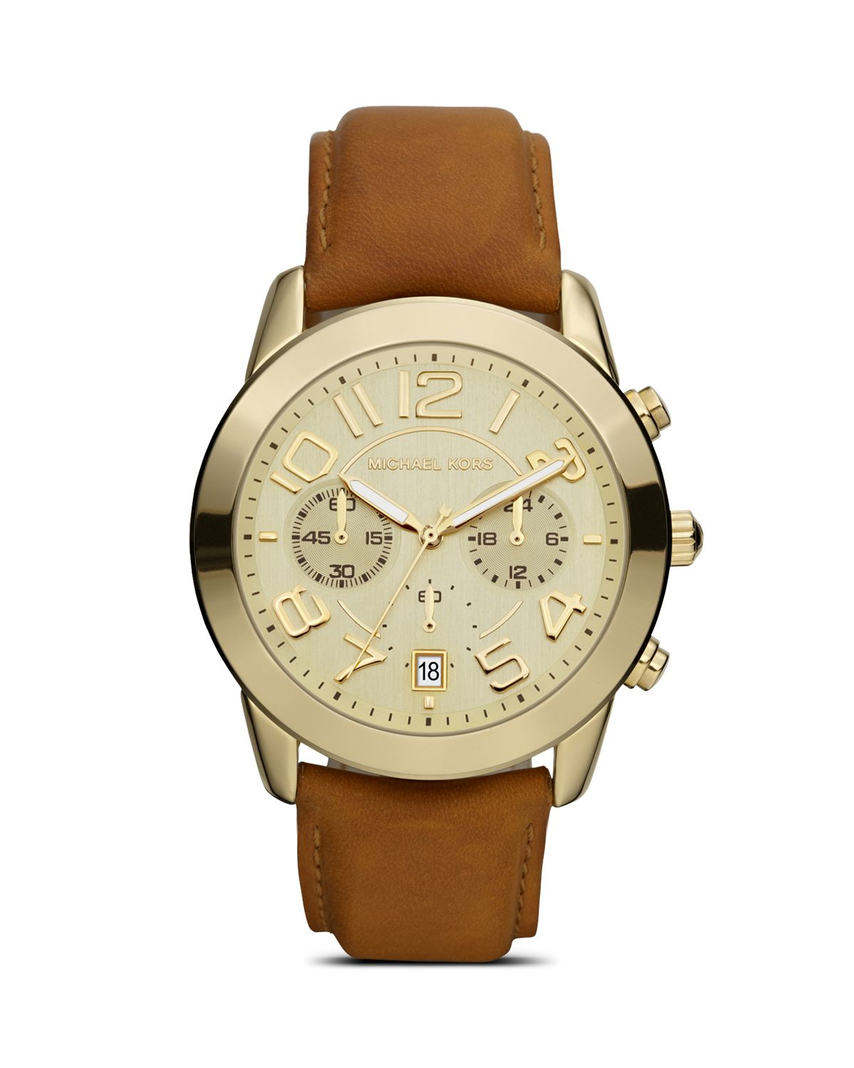 94f14b0b8 Michael Kors Ladies Shiny Gold Watch On Leather Strap in Metallic - Lyst