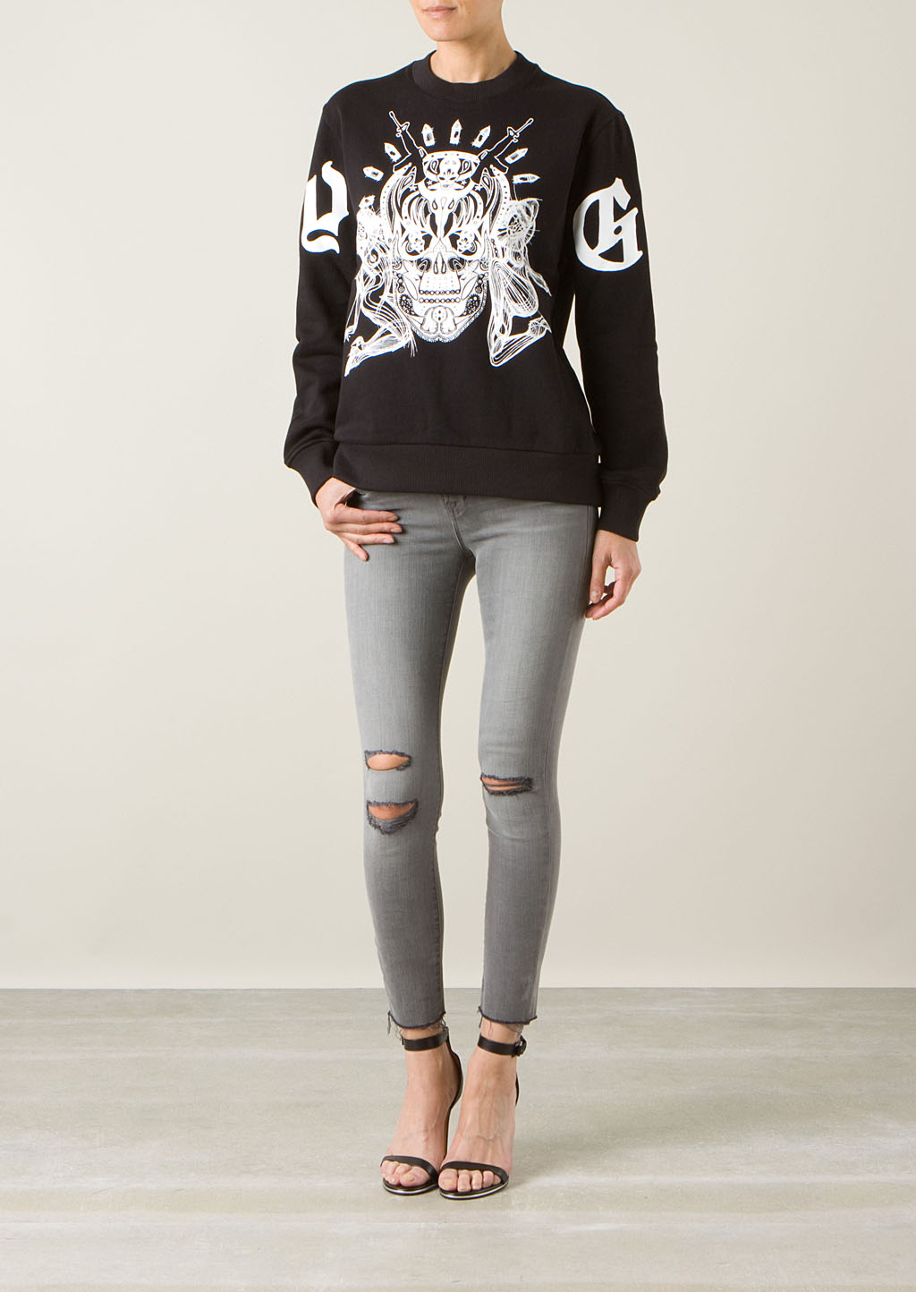 givenchy skull sweatshirt in black lyst. Black Bedroom Furniture Sets. Home Design Ideas