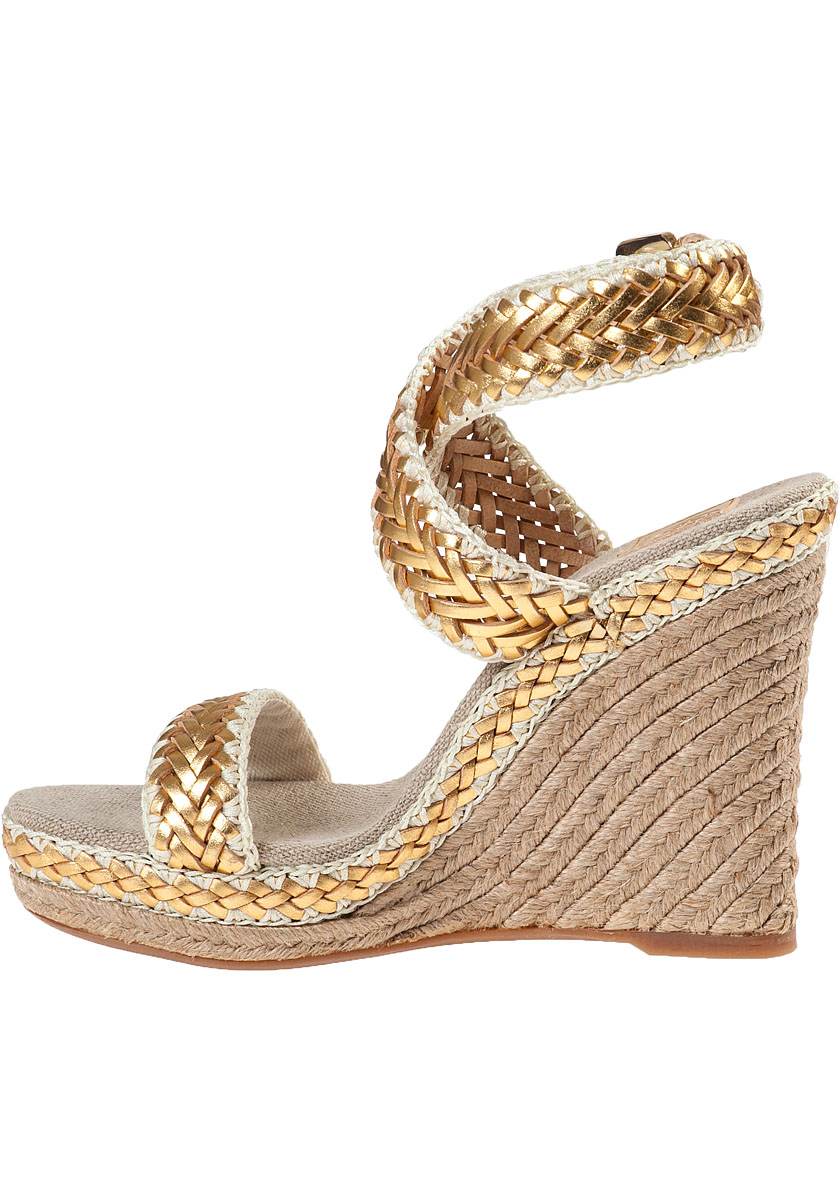 Lyst Tory Burch Lilah Wedge Espadrille Gold Leather In