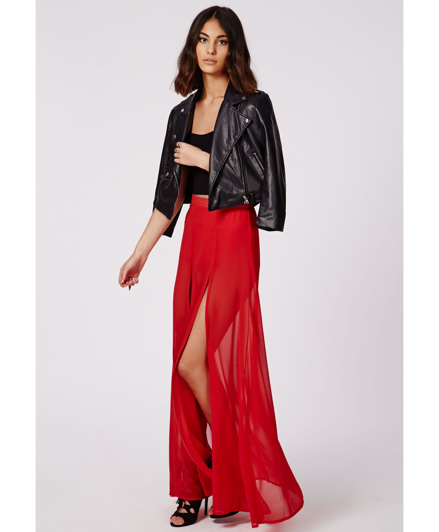 Maxi Chiffon skirt with split pictures