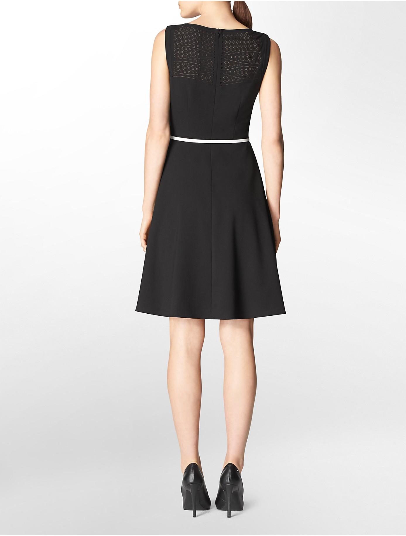Calvin Klein Eyelet Detail Belted Fit Flare Sleeveless