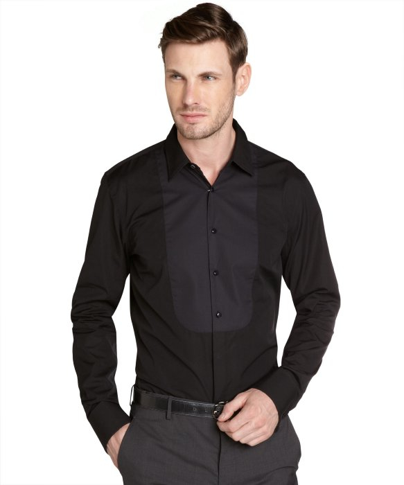 Gucci Black Cotton Tuxedo Shirt With Cuff Links In Black