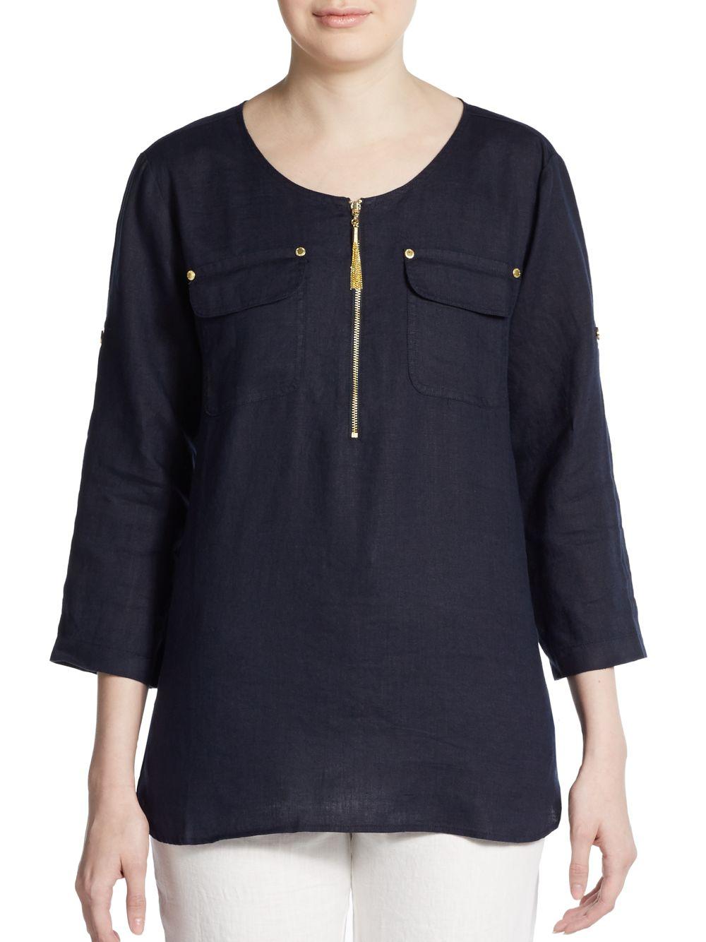 Lyst Ellen Tracy Roll Sleeve Linen Shirt In Blue