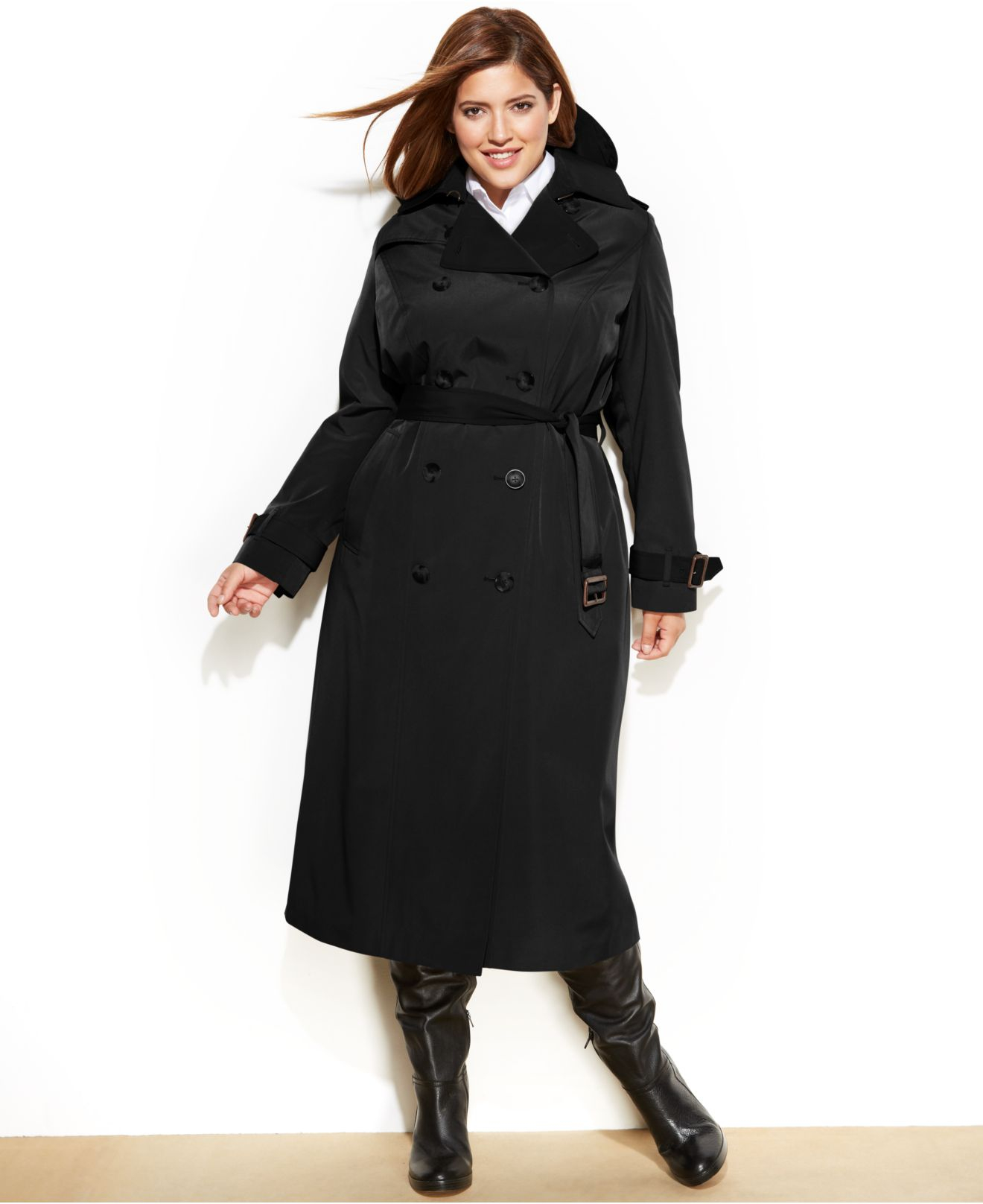 London fog Plus Size Hooded Layered-Lapel Trench Coat in