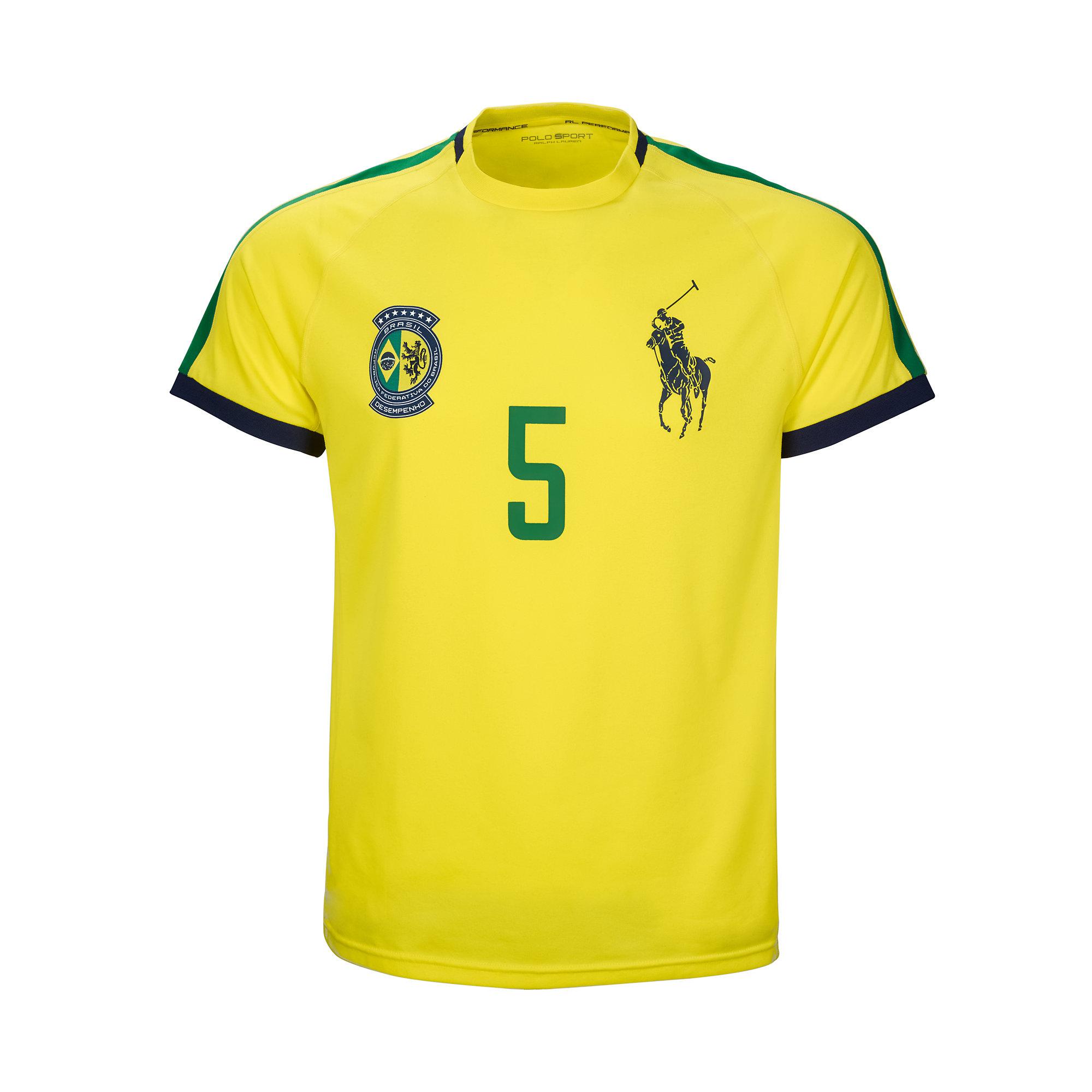 lyst ralph lauren brazil jersey t shirt in yellow for men. Black Bedroom Furniture Sets. Home Design Ideas