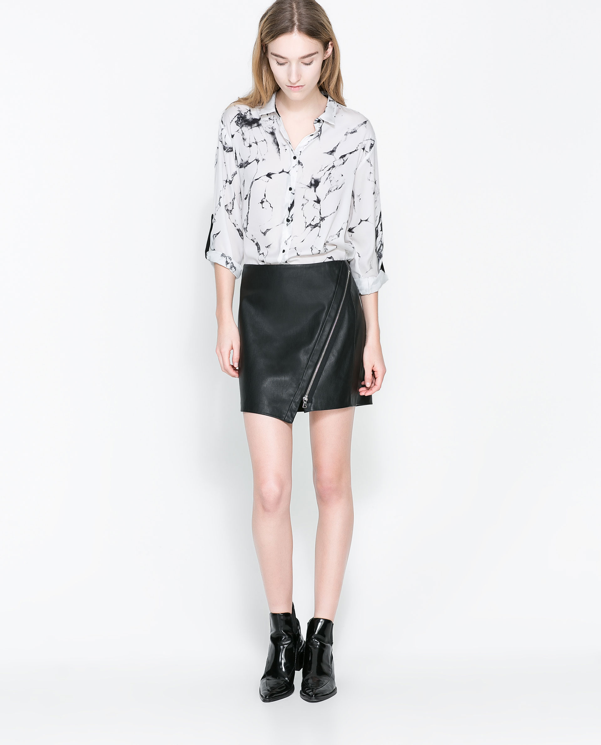 Zara Faux Leather Skirt with Zip in Black | Lyst