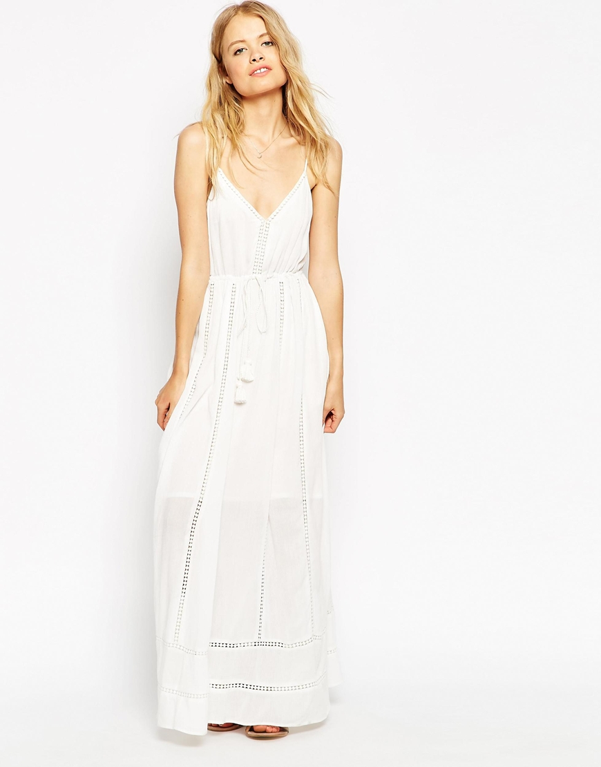 lyst asos maxi dress with broiderie insert and tassel detail in white. Black Bedroom Furniture Sets. Home Design Ideas