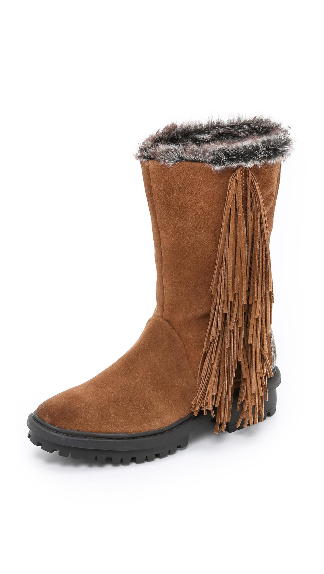 sam edelman tilden faux fur lined fringe boots mocha