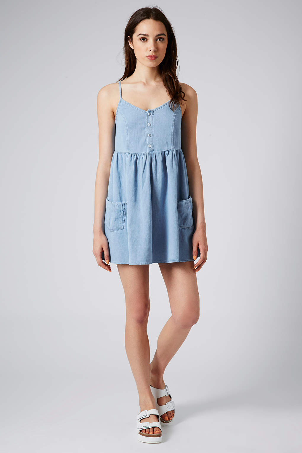 Topshop petite moto denim babydoll dress in blue lyst for Womens denim shirts topshop