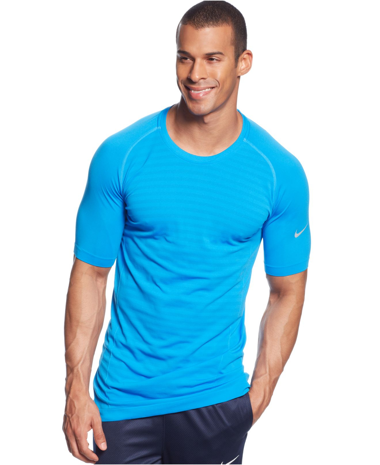 Nike miler dri fit performance t shirt in blue for men for Custom dri fit t shirts