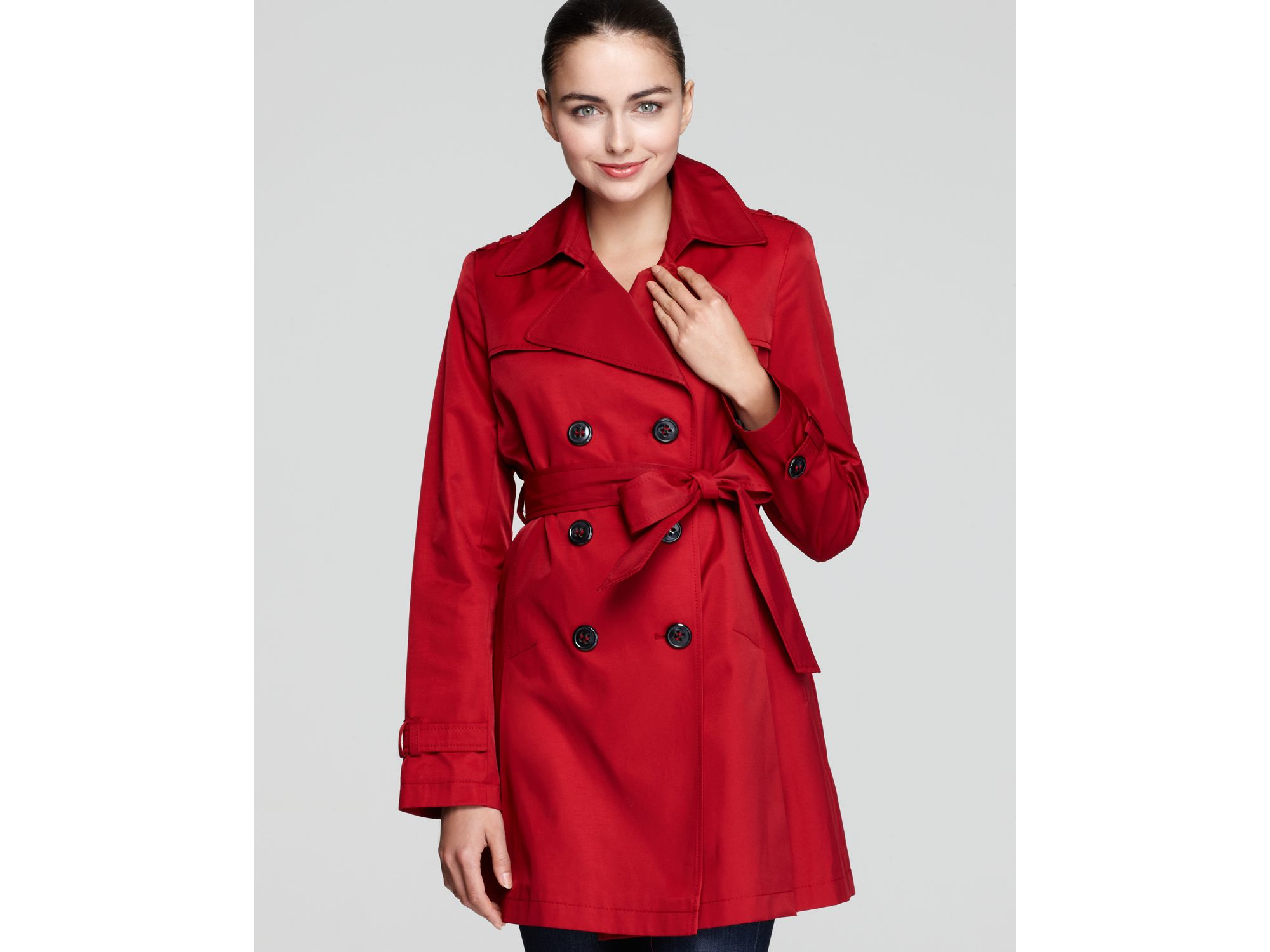 Dkny Megan Double Breasted Trench Coat With Belt in Red | Lyst