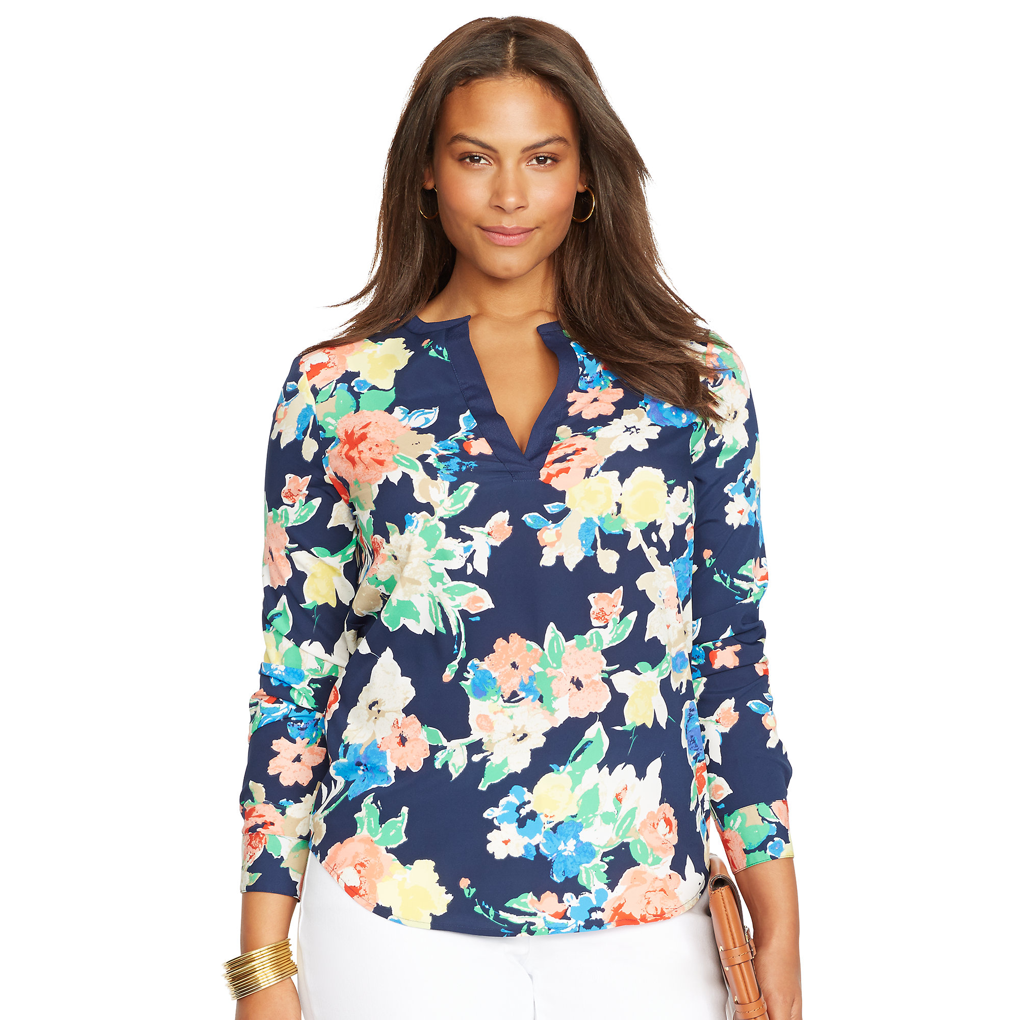 lauren by ralph lauren plus floral blouse in blue lyst. Black Bedroom Furniture Sets. Home Design Ideas