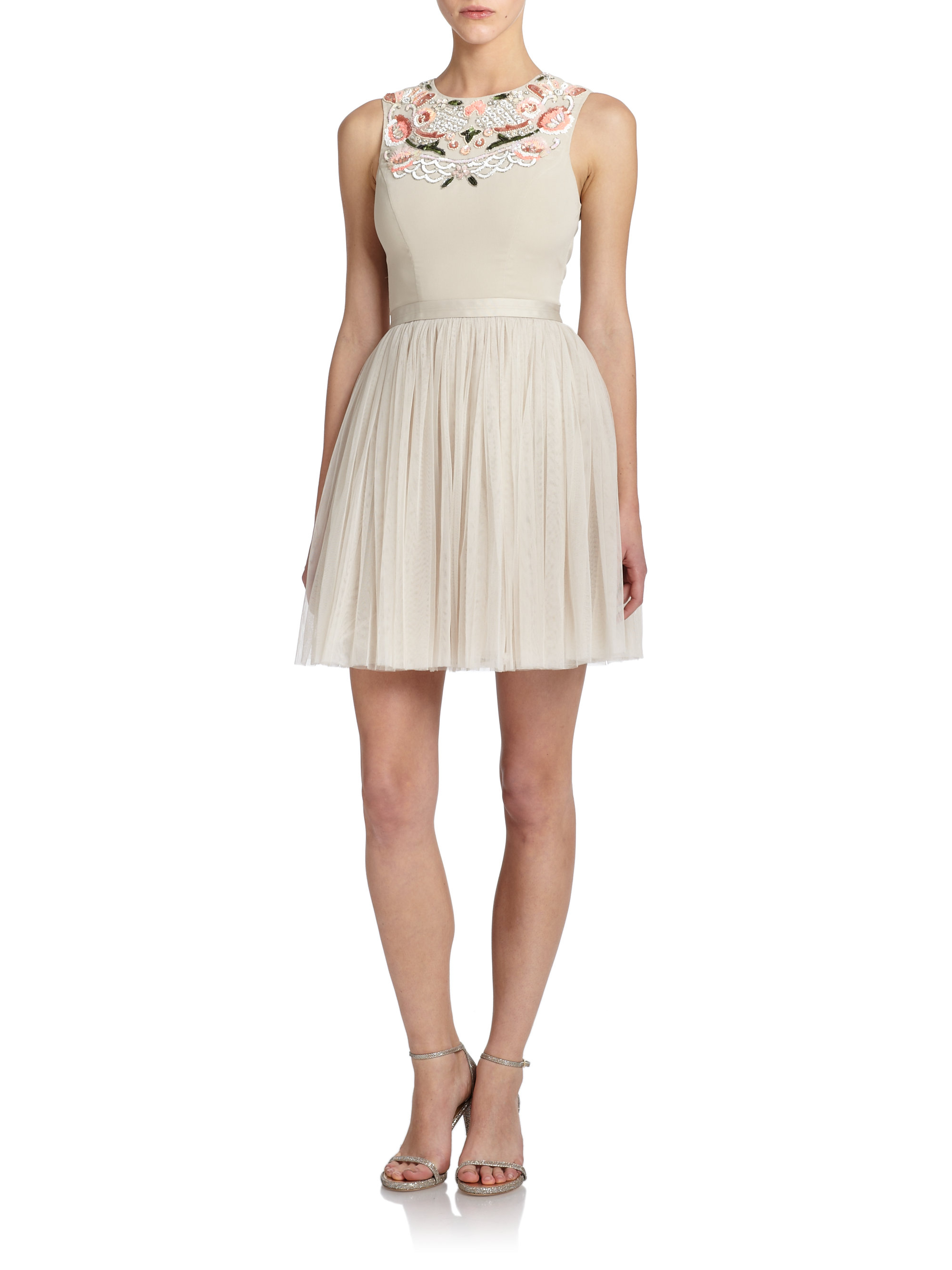 Needle Amp Thread Embroidered Fit And Flare Dress In Pink Lyst