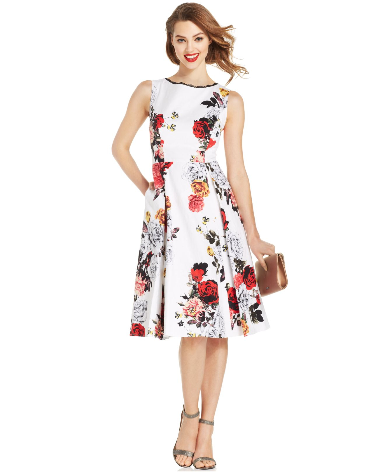 Adrianna Papell Rose Print Pleated Dress Lyst