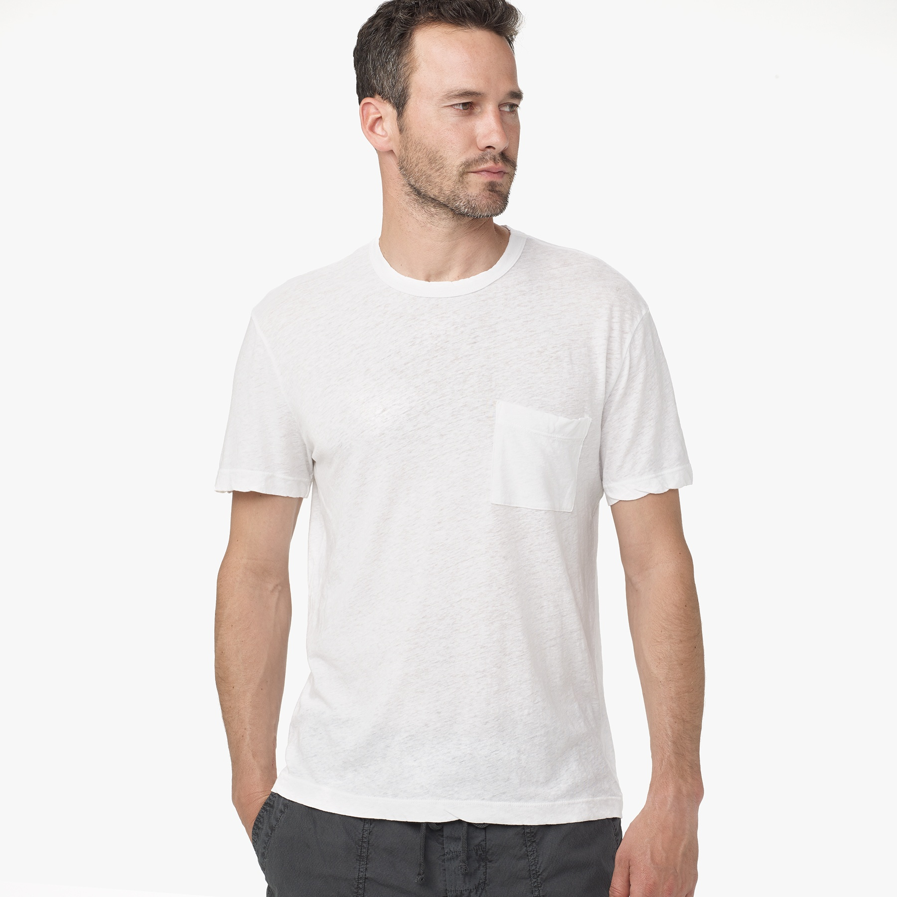James perse linen cotton pocket graphic tee in white for for James perse t shirts sale