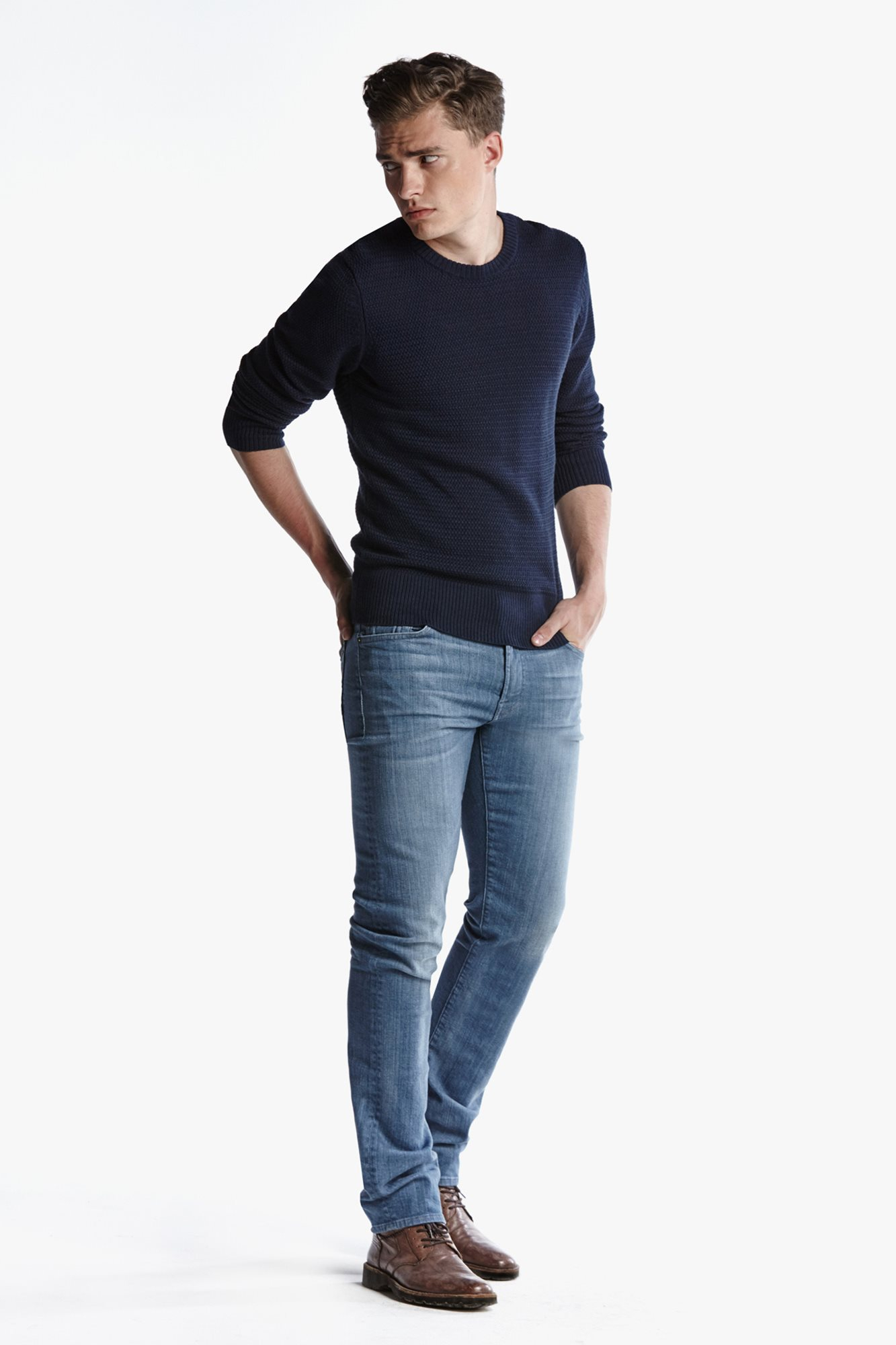 7 for all mankind stretch selvedge slimmy slim straight with clean pocket in blue for men. Black Bedroom Furniture Sets. Home Design Ideas