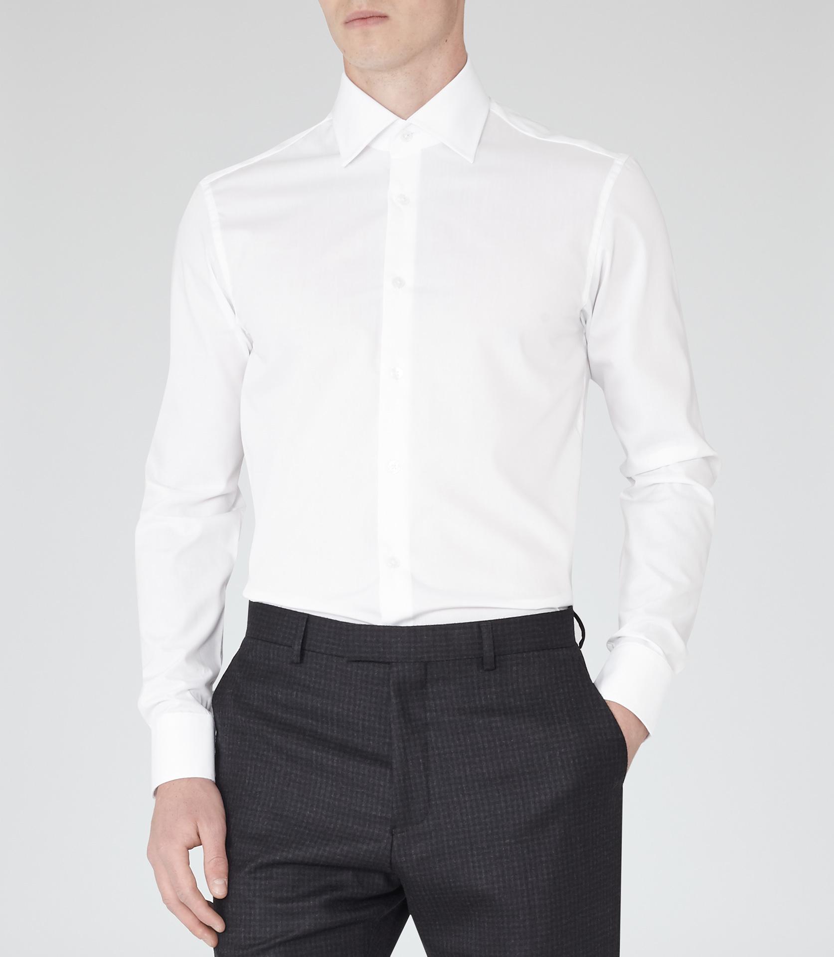Lyst Reiss Columbus Cotton Point Collar Shirt In White