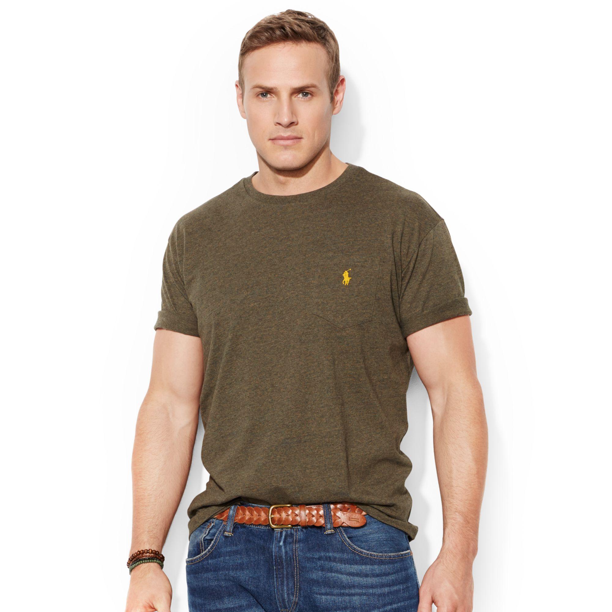 Polo ralph lauren pocket tee shirts in green for men for Polo t shirts with pockets