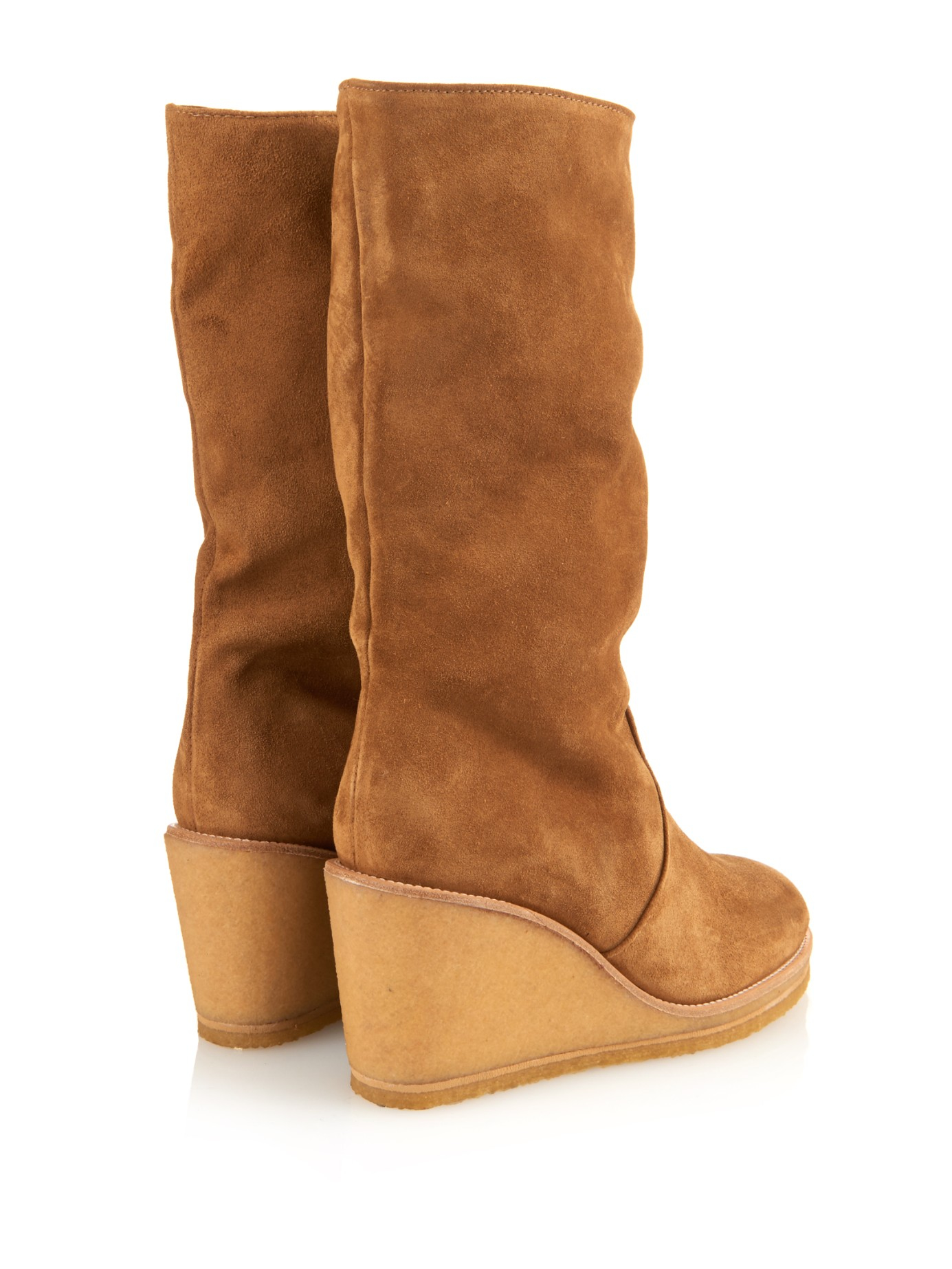 A.P.C. Clara Suede Wedge Boots in Tan (Brown)