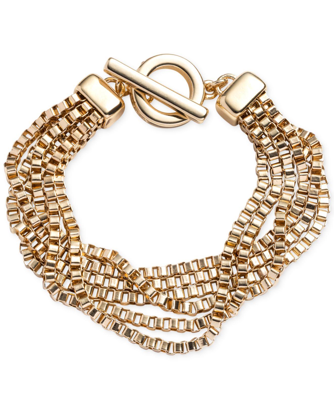 Anne klein gold tone multi row chain toggle bracelet in for Tj maxx jewelry box