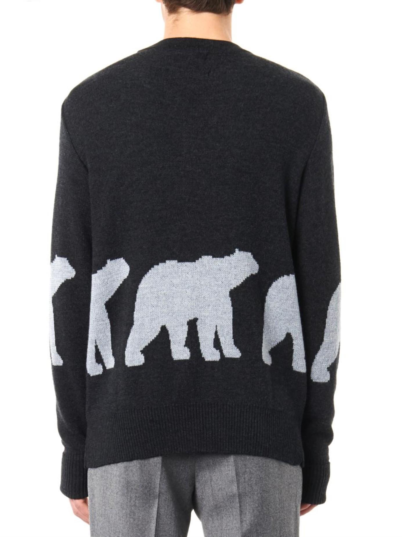 153e17480b6 Christopher Raeburn Black Polar Bear Intarsia-Knit Wool Sweater for men