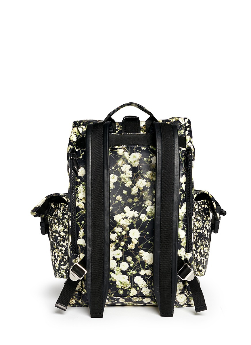 Givenchy Leather 'obsedia' Baby's Breath Print Backpack in Black for Men