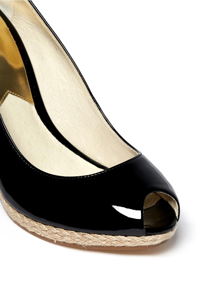 Michael Kors Keegan Patent Leather Espadrille Wedges In