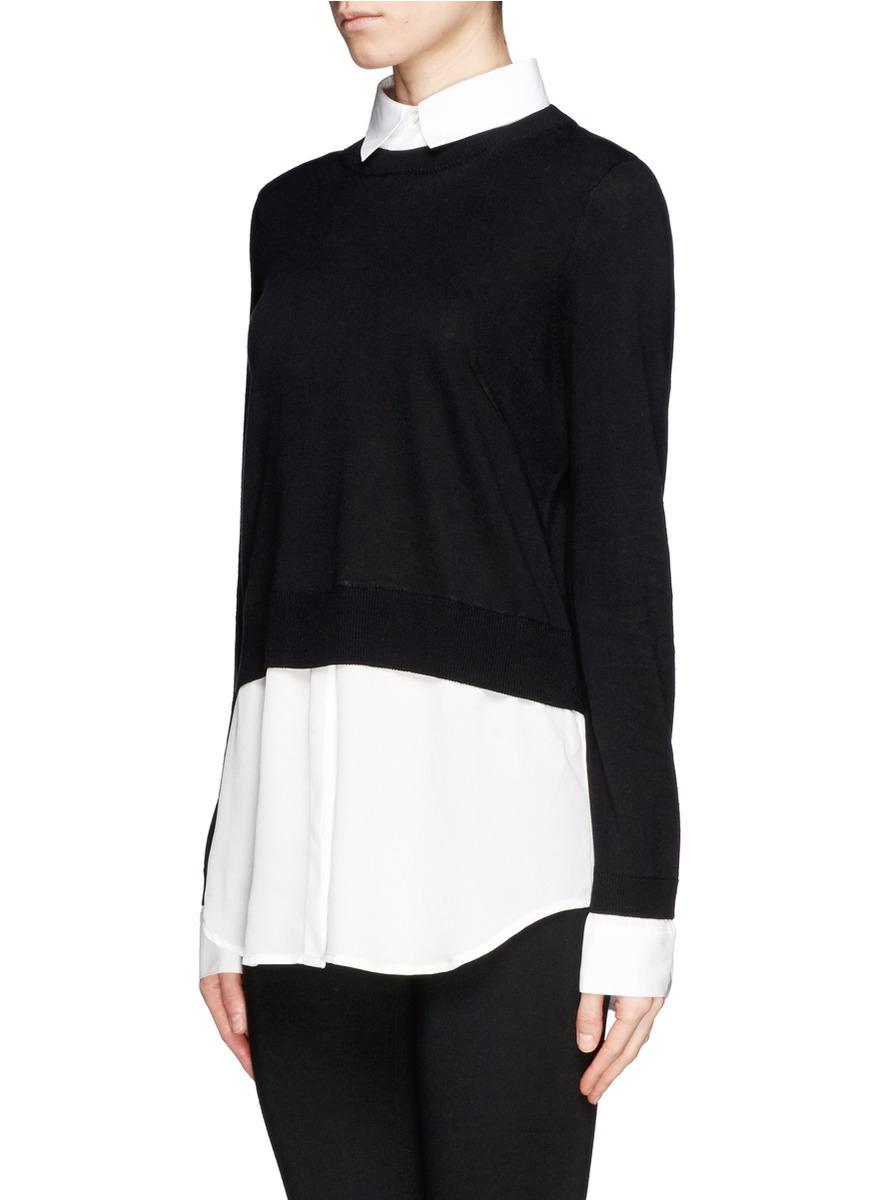 Lyst Sandro Seul Combo Shirt Sweater In Black