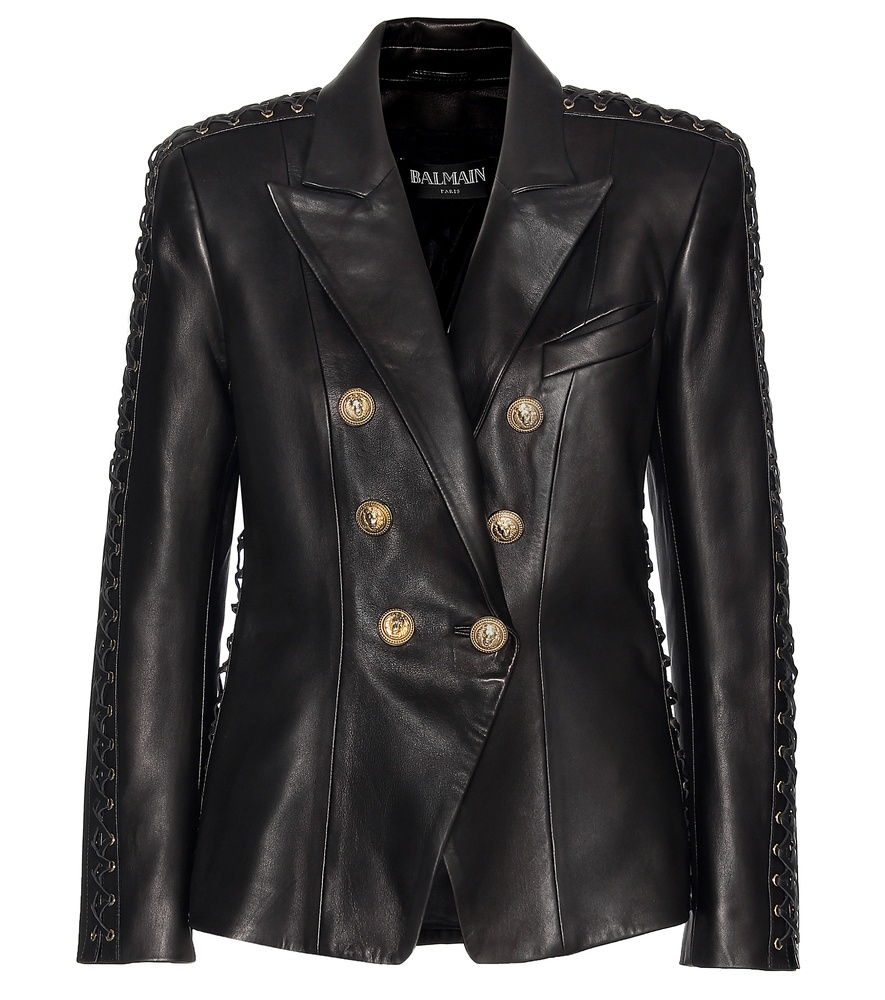 Lyst Balmain Lace Up Leather Jacket In Black