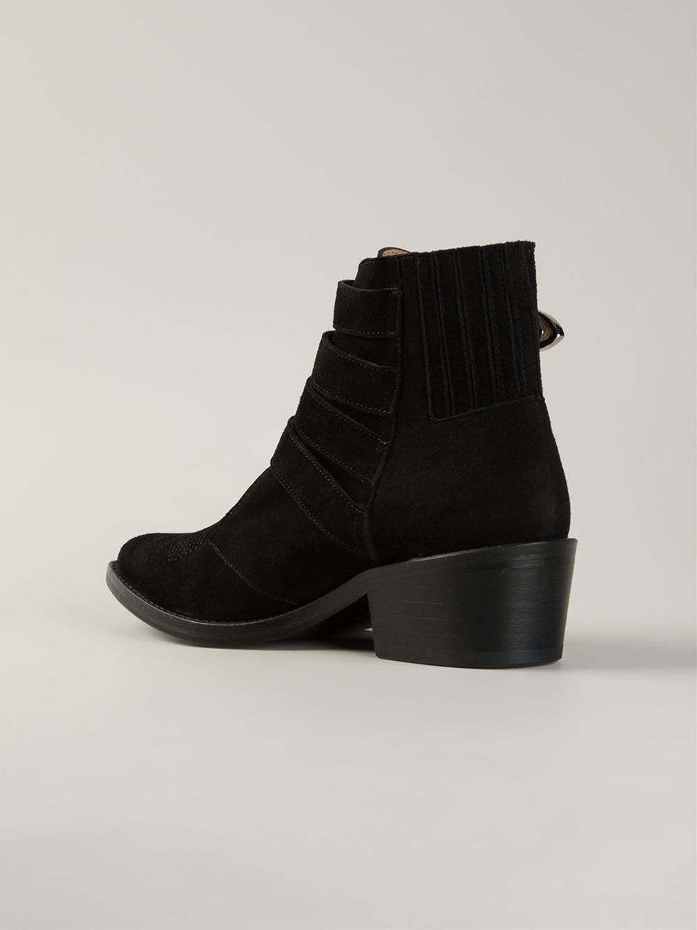 toga pulla suede buckle boots in black lyst