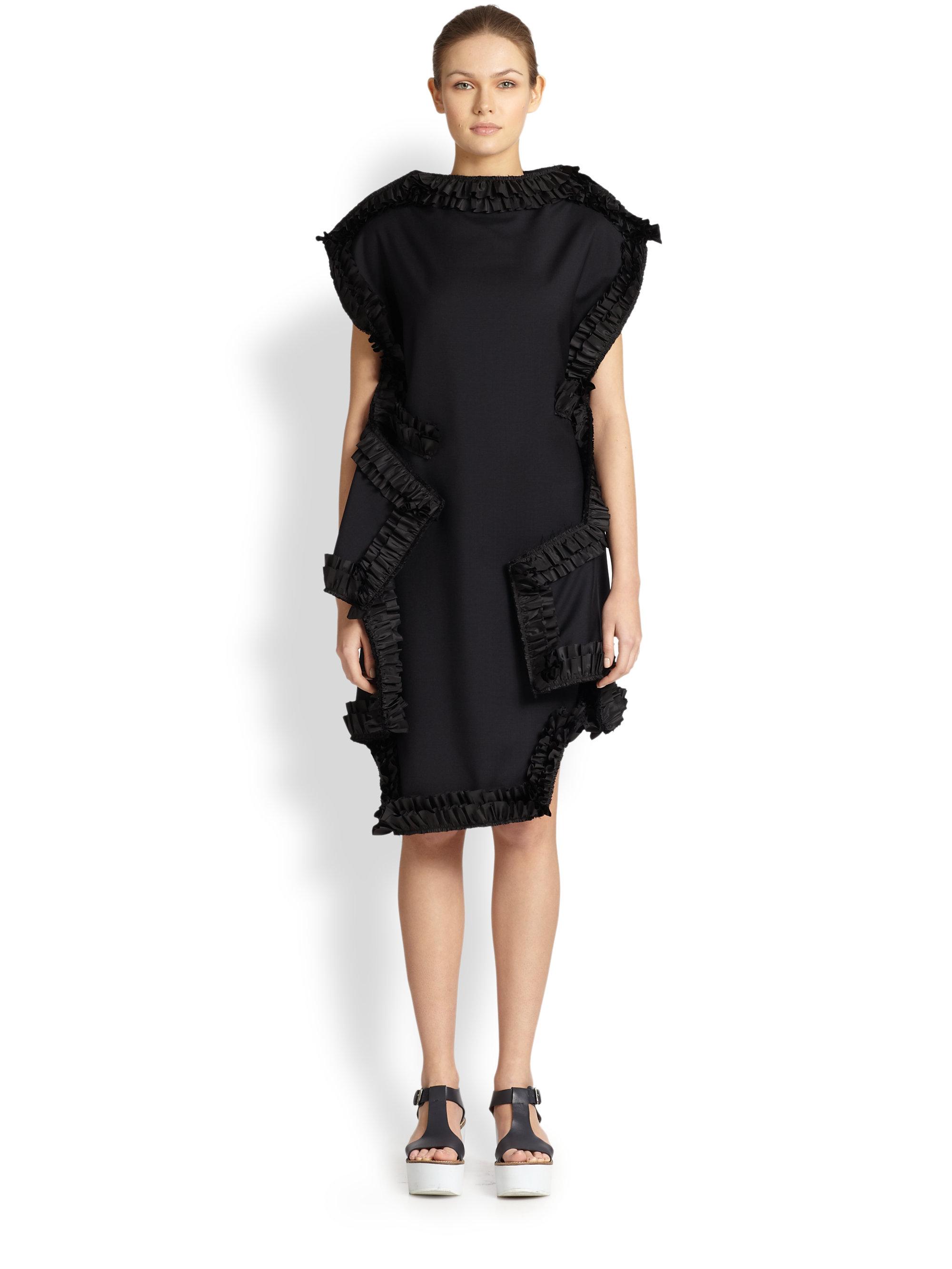 comme des gar ons ruffletrimmed dress in blue navy black lyst. Black Bedroom Furniture Sets. Home Design Ideas