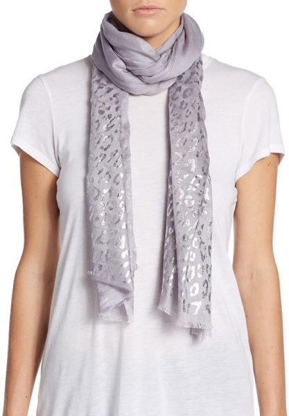 saks fifth avenue metallic animal print scarf in silver lyst