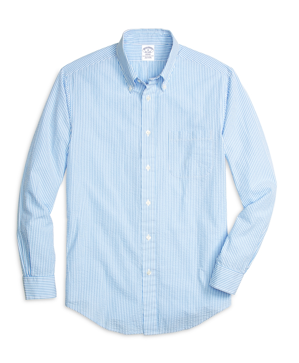 Brooks brothers blue regent fit seersucker stripe sport for Brooks brothers shirt size guide