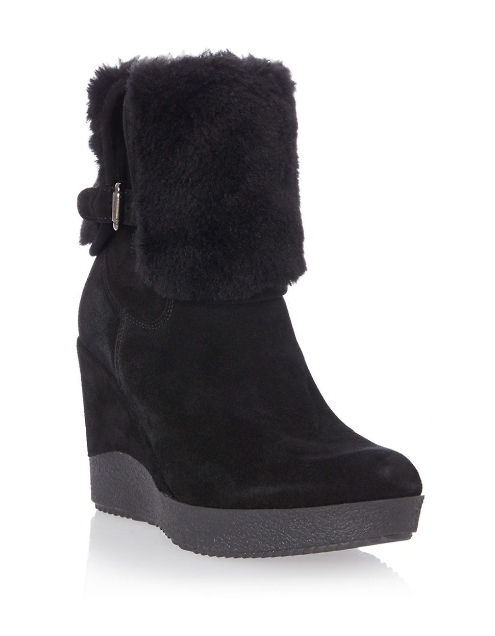 dune pluff suede and faux fur ankle boots in black lyst